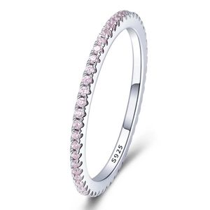 925 Sterling Silver Pink Band Ring